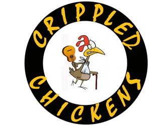 Crippled Chickens (ROUND text Mistral-YELLOW ON BLACK