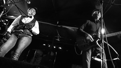 The Crippled Chickens; Tash kelaher (L) & Steve Pratley (R) performing at the 'soft launch' of Bow Tie Day